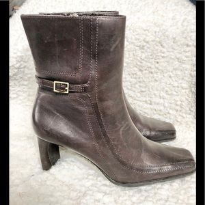 Etienne Aigner Brown Leather Ankle Women's Boots